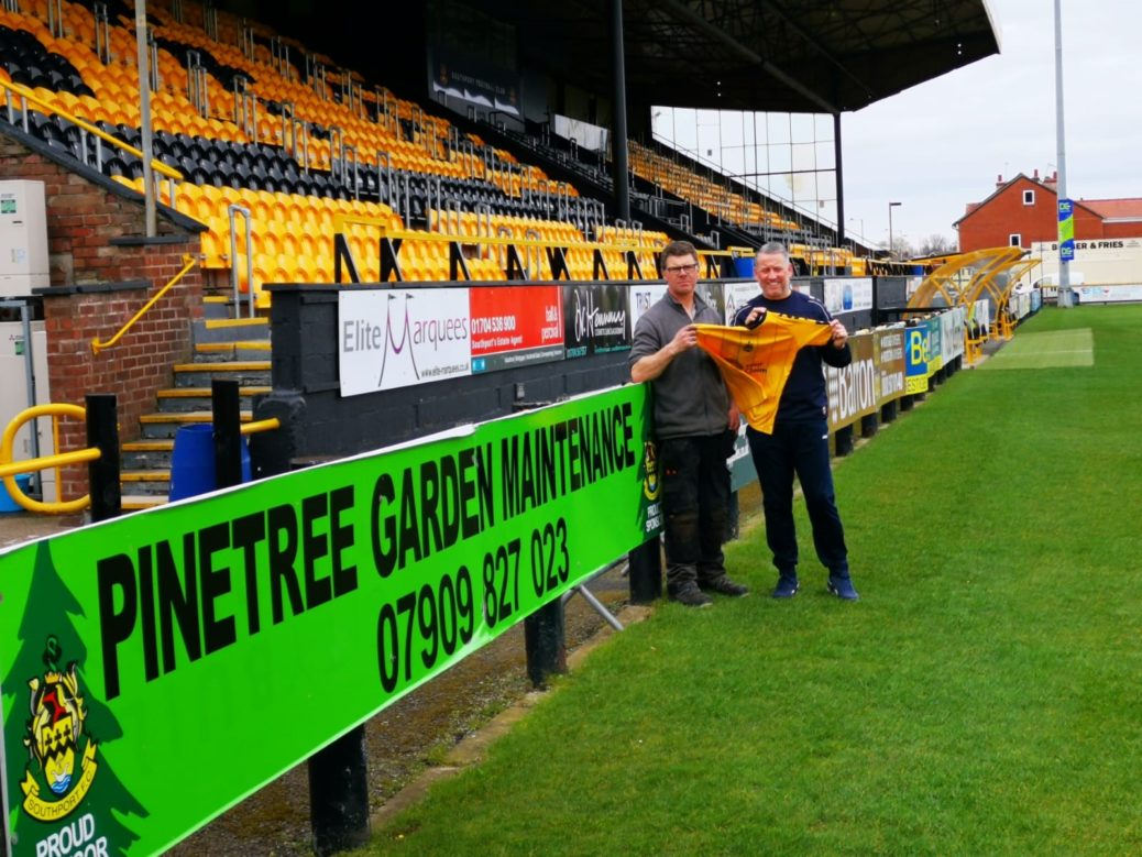 Paul Newnham has donated £10,000 to Southport FC to help the club during the Coronavirus outbreak. He is pictured with manager Liam Watson
